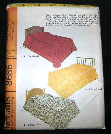 Vintage 1960's McCalls Craft Sewing Pattern 8686 Twin Full Bed Cover Spread Sham Coverlet UNCUT