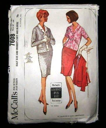 Vintage 1960's McCalls Sewing Pattern 7608 Suit Skirt Jacket Blouse Plus Size 16 1/2 - 18 1/2 CUT