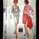 Vintage 1960's McCalls Sewing Pattern 7608 Suit Skirt Jacket Blouse Plus Size 16 1/2 - 18 1/2 CUT