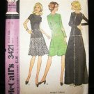 Vintage 1970's McCalls Sewing Pattern 3421 Long or Short Dress Size 16 CUT