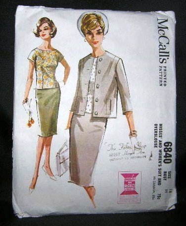 Vintage 1960's McCalls Sewing Pattern 6840 Suit Skirt Jacket Over Blouse Plus Size 18 UNCUT