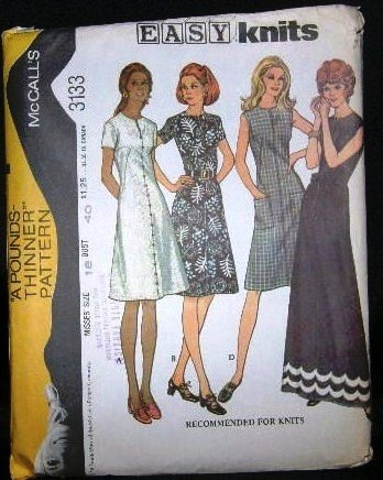 Vintage 1970's McCalls Easy Knits Sewing Pattern 3133 Long or Short Dress Plus Size 18 UNCUT