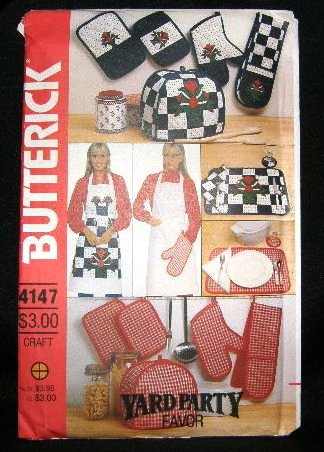 Vintage Butterick Craft Sewing Pattern 4147 Bib Apron Pot Holder Appliance Cover Placemat UNCUT