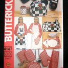 Vintage Butterick Craft Sewing Pattern 4147 Bib Apron Pot Holder Appliance Cover Placemat UNCUT