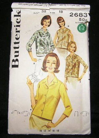 Vintage 1960's Butterick Sewing Pattern 2683 Long or Short Sleeve Blouse Plus Size 18 CUT