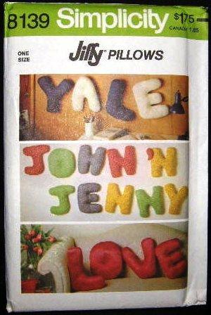 Vintage 1970's Simplicity Sewing Craft Pattern 8139 Jiffy Alphabet Pillow Pillows UNCUT