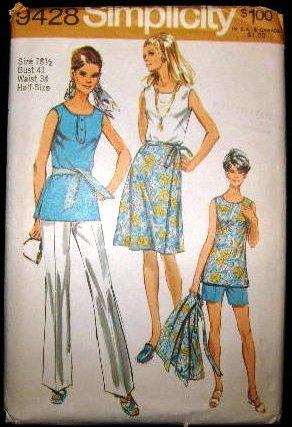 Vintage 1970's Simplicity Sewing Pattern 9428 Tunic Shorts Pants Wrap Skirt Plus Size 18 1/2 CUT