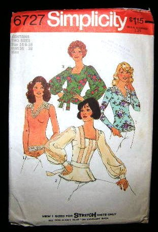 Vintage Boho 1970's Simplicity Knit Sewing Pattern 6727 Pullover Top Blouse Sash Size 14 - 16 CUT