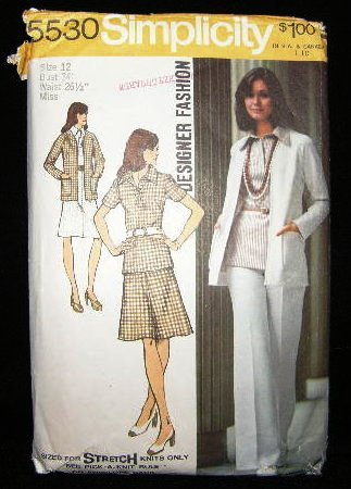 Vintage 1970's Simplicity Stretch Knit Sewing Pattern 5530 Blouse Skirt Pants Cardigan Size 12 CUT