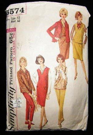 Vintage 1960's Simplicity Sewing Pattern 5574 Blouse Jumper Top Skirt Pants Size 12 CUT