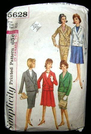 Vintage 1960's Simplicity Sewing Pattern 5628 Suit Skirt Jacket Size 12 CUT