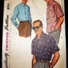 Vintage 1950's Simplicity Mens Sewing Pattern 4981 Shirt Long or Short Sleeve Size Ex Large CUT