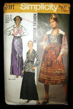 Vintage Boho 1970's Simplicity Sewing Pattern 9111 Wrap Skirt Blouse Vest Sash Plus Size 18 UNCUT