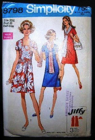 Vintage 1970's Simplicity Jiffy Sewing Pattern 8798 Dress Scarf Sash Plus Size 20 1/2 UNCUT