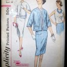 Vintage 1950's Simplicity Sewing Pattern 3339 Suit Jacket Blouse Skirt Plus Size 18 UNCUT