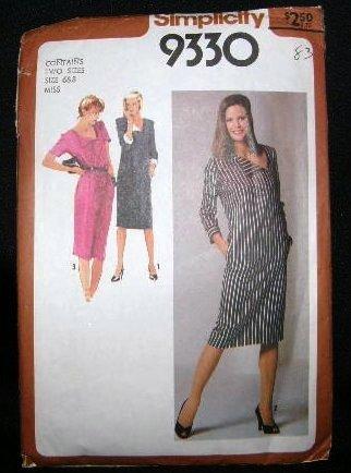 Vintage 1970's Simplicity Sewing Pattern 9330 Long or Short Sleeve Slim Dress Sizes 6 - 8 UNCUT