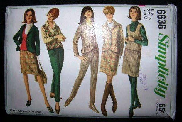 Vintage 1960's Simplicity Sewing Pattrn 6636 Jacket Top Skirt Slacks Size 12 UNCUT