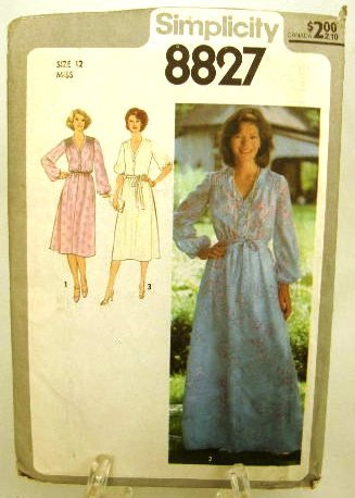 Vintage 1970's Simplicity Jiffy Sewing Pattern 8827 Long or Short Dress Size 12 UNCUT