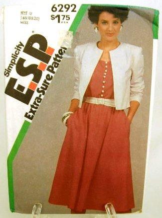 Vintage 1980's Simplicity ESP Sewing Pattern 6292 Dress Jacket Sash Plus Size 16 18 20 UNCUT