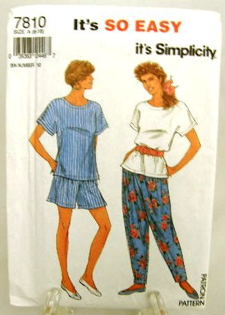 1990's Simplicity Sewing Pattern 7810 Loose Fitting Top Pants Shorts Size 6 thru 18 UNCUT