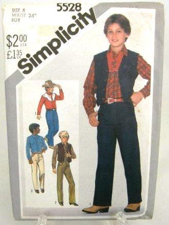 Vintage 1980's Simplicity Sewing Pattern 5528 Boys Western Shirt Pants Jeans Vest Size 8 UNCUT