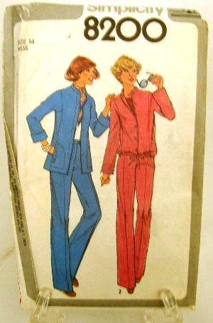 Vintage 1970's Simplicity Sewing Pattern 8200 Jacket Pants 2 Styles Size 14 UNCUT