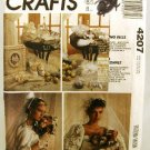 1980's McCalls Craft Sewing Pattern 4207 Wedding Pillow Garter Sachet Basket Gloves Rose UNCUT