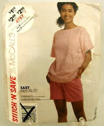 1990's McCalls Easy Sewing Pattern 4787 Stretch Knit Shorts T-Shirt Top Size B Medium - Large UNCUT