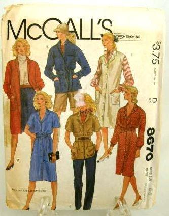 Vintage 1980's McCalls Sewing Pattern 8670 Coat Dress Shirt Jacket Jumper Tie Belt Size 6 - 8 UNCUT
