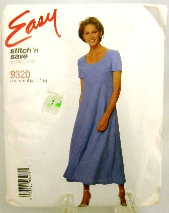 1990's McCalls Easy Sewing Pattern 9320 Pullover Short Sleeve Dress Size A, 8, 10, 12, 14 UNCUT