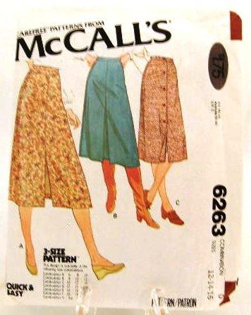 Vintage 1970's McCalls Sewing Pattern 6263 Skirt 3 Styles Size D 12 14 16 UNCUT