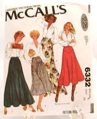 Vintage 1970's McCalls Sewing Pattern 6332 Long Short Full Flared Skirt 4 Styles Size 8 UNCUT