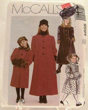 1990's McCalls Sewing Pattern 9594 Girls Coat Hat Muff Headband Size CJ, 10, 12, 14 UNCUT