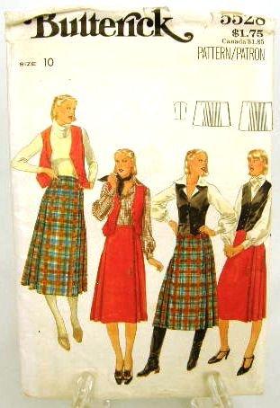 Vintage 1970's Butterick Sewing Pattern 5528 Long Short Skirt Vest Size 10 UNCUT