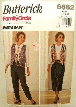 Vintage 1990's Butterick Sewing Pattern 6682 Vest Skirt Pants Tie Shirt Plus Size 16 18 20 22 UNCUT