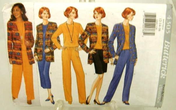 Vintage 1990's Butterick Sewing Pattern 4305 Jacket Top Skirt Pants Size 12 14 16 UNCUT