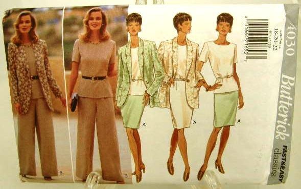 Vintage 1990's Butterick Sewing Pattern 4030 Skirt Pants Jacket Top Plus Size 18 20 22 UNCUT