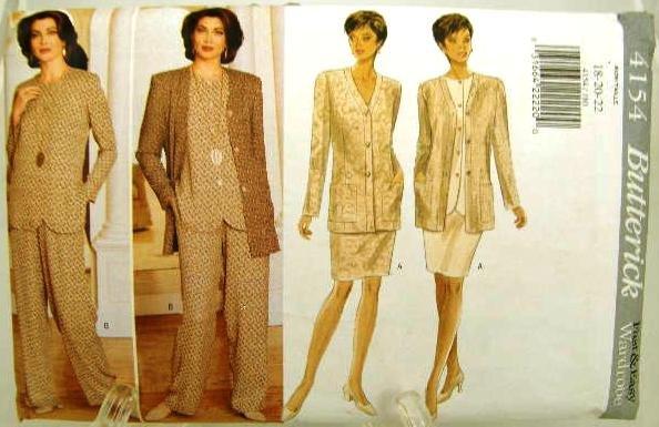 Vintage 1990's Butterick Sewing Pattern 4154 Jacket Top Skirt Pants Plus Size 18 20 22 UNCUT