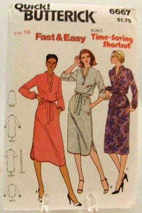 Vintage 1970's Quick Butterick Sewing Pattern 6667 Dress Top Skirt Belt Size 16 UNCUT
