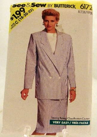 Vintage 80's Butterick See & Sew Sewing Pattern 6172 Jacket Top Skirt Plus Size C 18 20 22 UNCUT