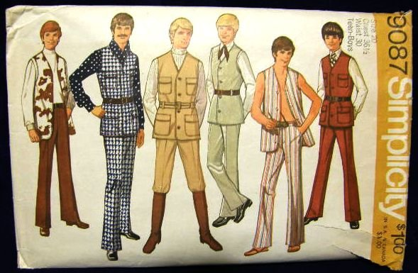 Vintage 1970's Simplicity Sewing Pattern 9087 Teen Boys Vest Pants Size 20 CUT