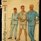 1960's Vintage Simplicity Mens Sewing Pattern 4007 PJ's, Pajamas Size Medium 38 - 40 CUT