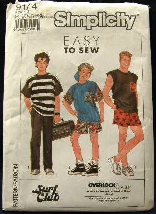 Vintage 80's Simplicity Sewing Pattern 9174 Teen Boys Shorts Pants Shirt Sleeveless Top One Size CUT