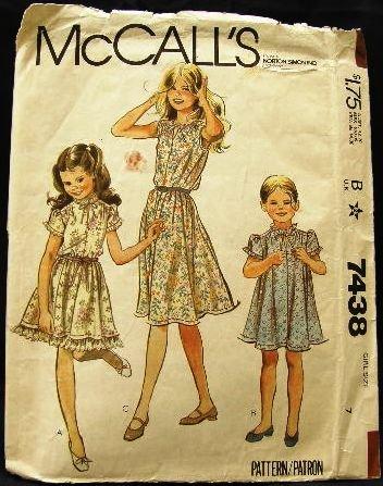 Vintage 1980's McCalls Sewing Pattern 7438 Girls Dress 3 Styles Size 7 CUT