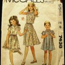 Vintage 1980's McCalls Sewing Pattern 7438 Girls Dress 3 Styles Size 7 CUT