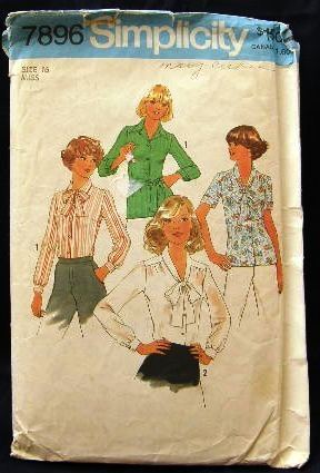 Vintage 70's Simplicity Sewing Pattern 7896 Blouse with Tie Belt or Scarf Size 16 CUT