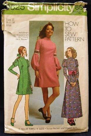 Vintage Susan Dey Model 70's Simplicity Sewing Pattern 9626 Long Short Princess Dress Size 16 CUT