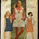Vintage 1970's Simplicity Sewing Pattern 9776 Junior Teen Dress Blouse Jumper Size 9 - 10 CUT