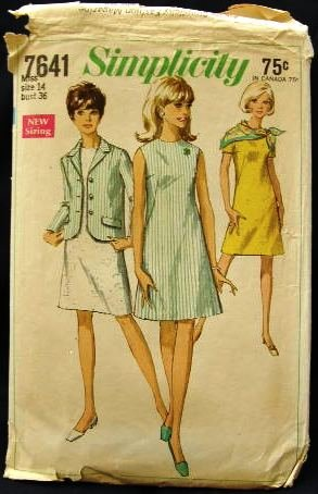 Vintage 1960's Simplicity Sewing Pattern 7641 Dress Sleeveless or with Sleeves Jacket Size 14 CUT