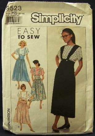 Vintage 80's Simplicity Easy to Sew Sewing Pattern 9523 Blouse Suspenders Skirt Size 6 - 14 CUT